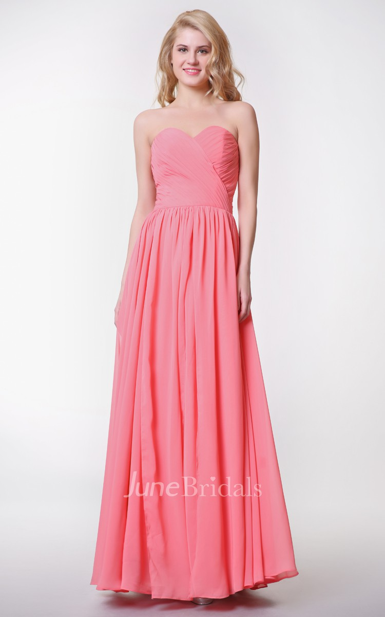 Sweetheart Pleated A-line Chiffon Gown With Convertible Straps ...