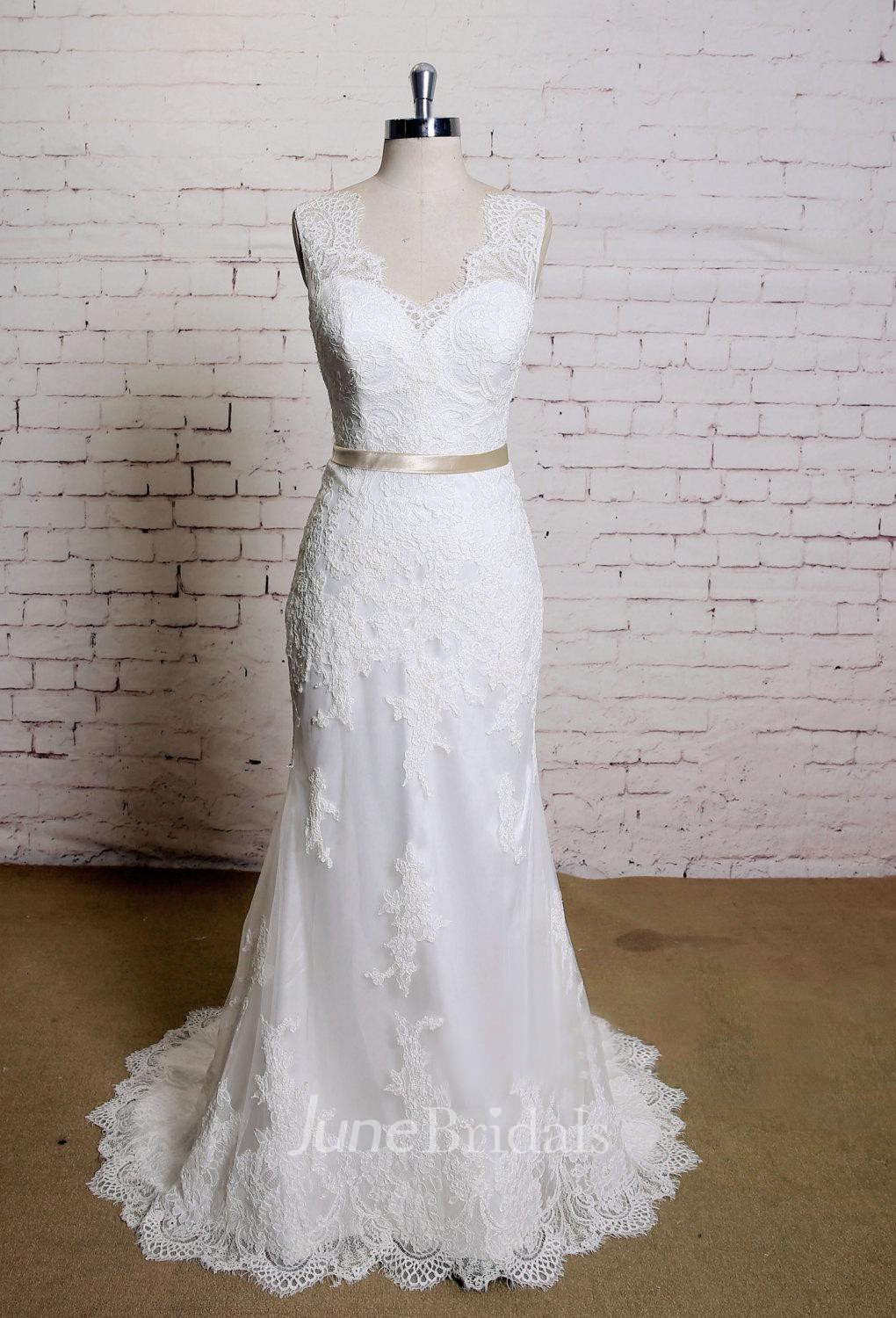 e1f9dd67f7 V-Neck Sleeveless Lace Mermaid Wedding Dress With Satin Sash - June Bridals