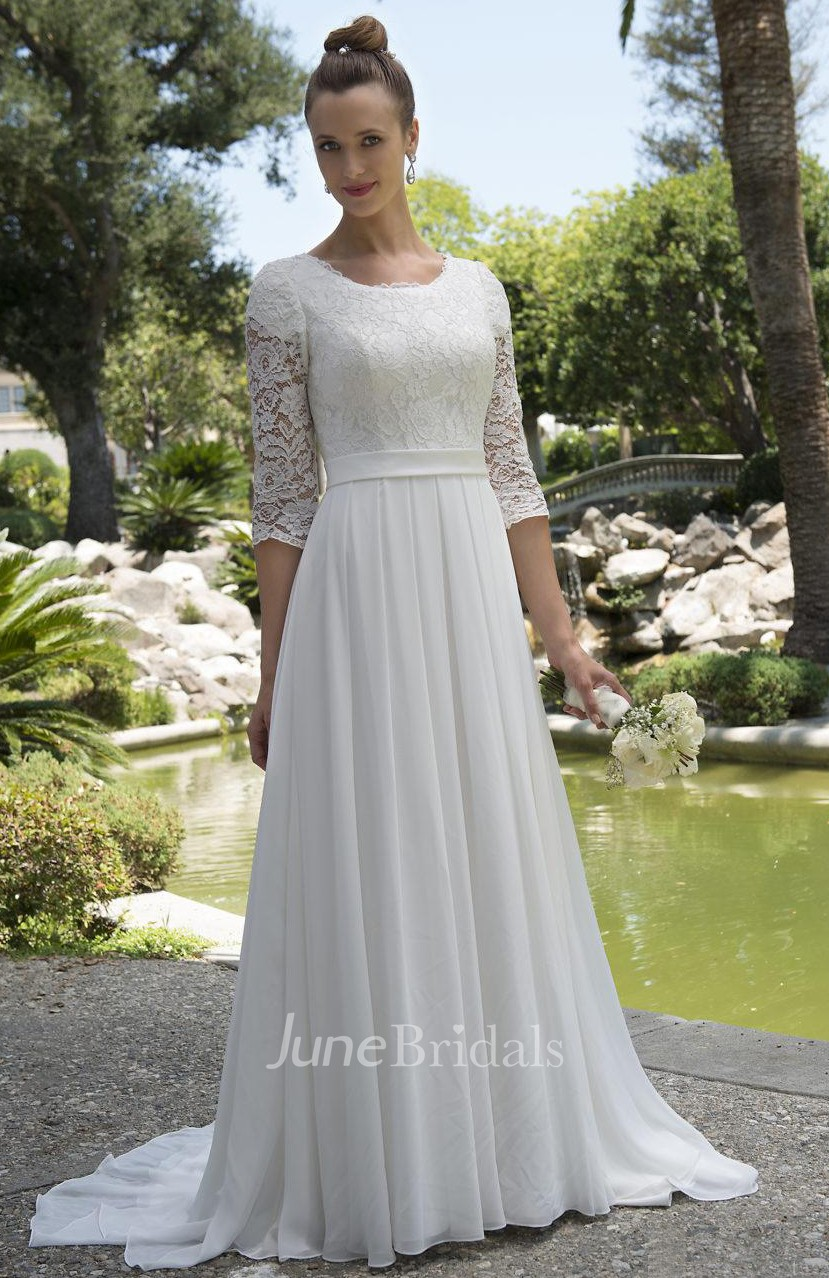 c3337cd0d55be Informal Modest Beach Scoop Neck Lace Chiffon Wedding Dress With 3-4 Sleeves  - June Bridals