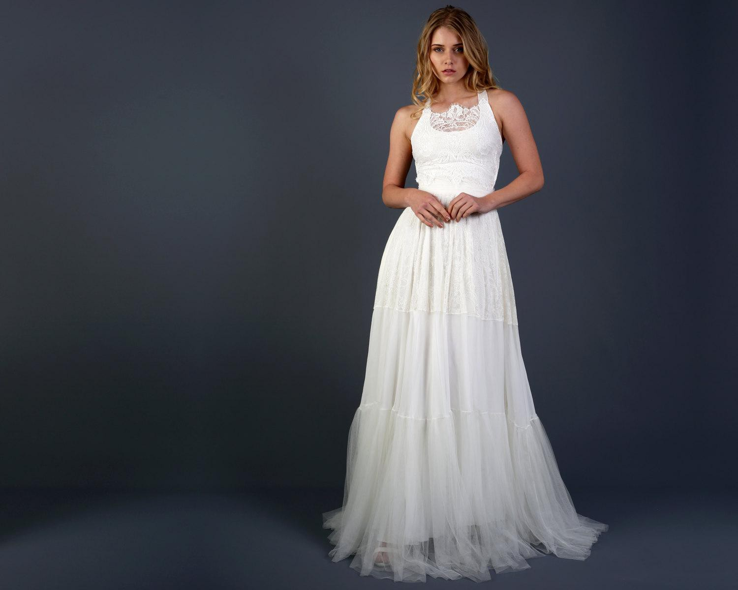 Cheap Wedding Dresses Lace: Scoop Neck Sleeveless A-Line Lace And Tulle Wedding Dress
