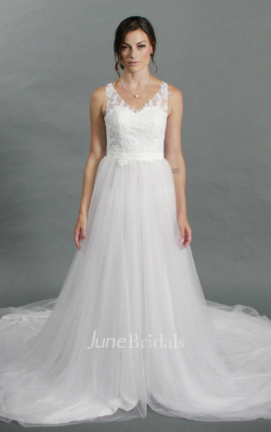 V Neck Sleeveless Lace Top Tulle Bottom A Line Wedding