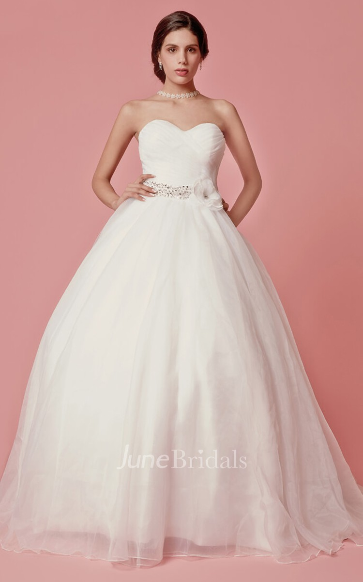 Sweetheart Organza Ball Gown With Crisscross Ruching - June Bridals