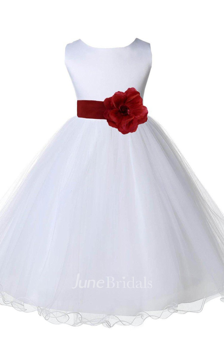 Sleeveless A Line Satin Dress With Flower And Bow June