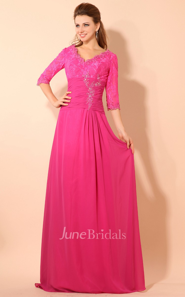 Maxi Half Sleeve V Neck Dress With Ruching Waist And Lace