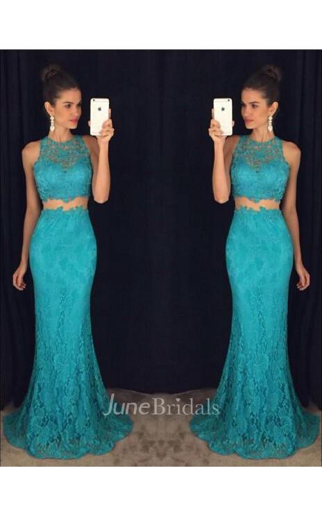 8dc1d93592d4 Delicate Mermaid Lace 2018 Prom Dress Two Piece - June Bridals