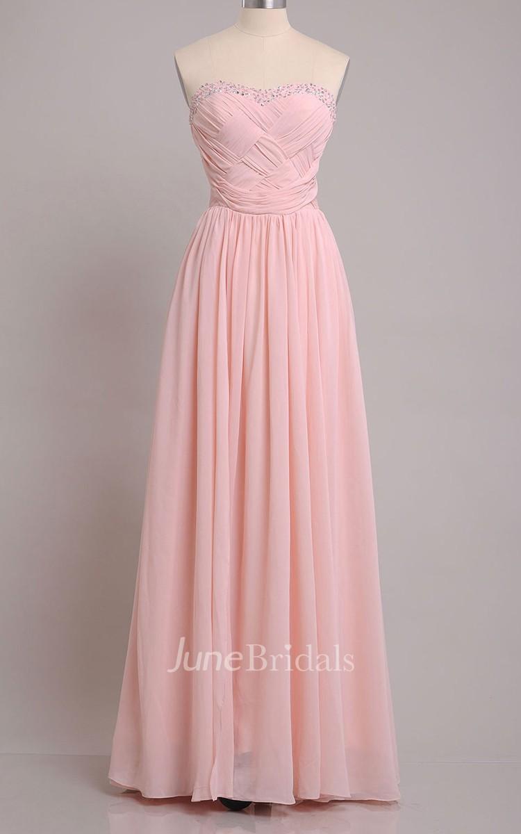 Sweetheart Sheath Chiffon Floor Length Dress With Beading