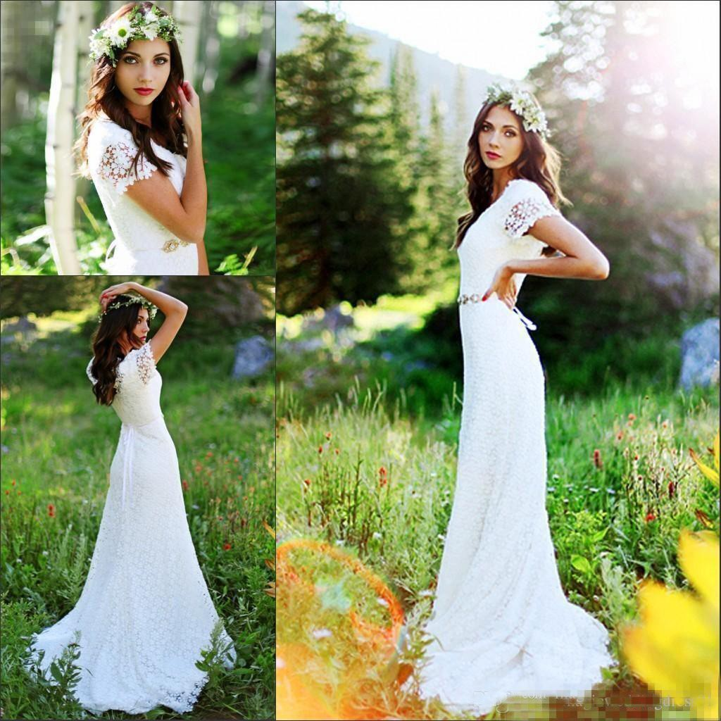 9ffabded00 Vintage Country Modest Cap Sleeve Bohemian Crochet Lace A-line Wedding Dress  with Beaded Belt - June Bridals