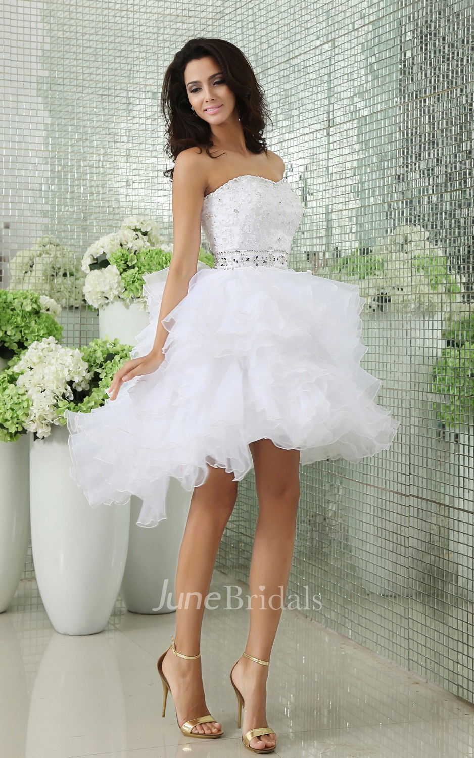 Strapless Short Layers Dress With Crystal Detailings And