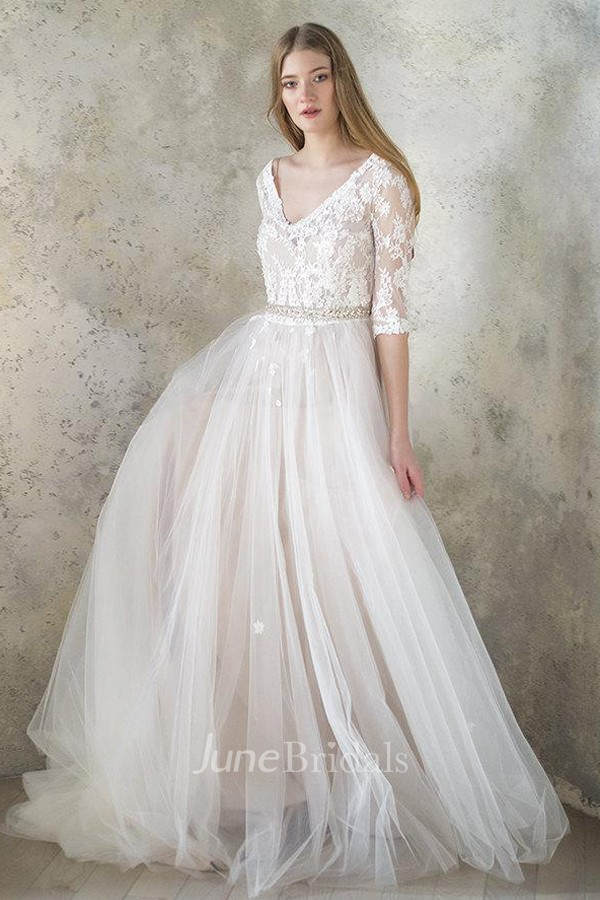 6d9d27559b3ca V-Neck 3-4 Length Sleeve Tulle Sequined Satin Beaded Lace Button Wedding  Dress - June Bridals