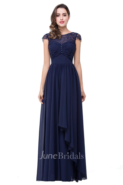Elegant Chiffon Lace A Line 2018 Prom Dress Bowknot Cap