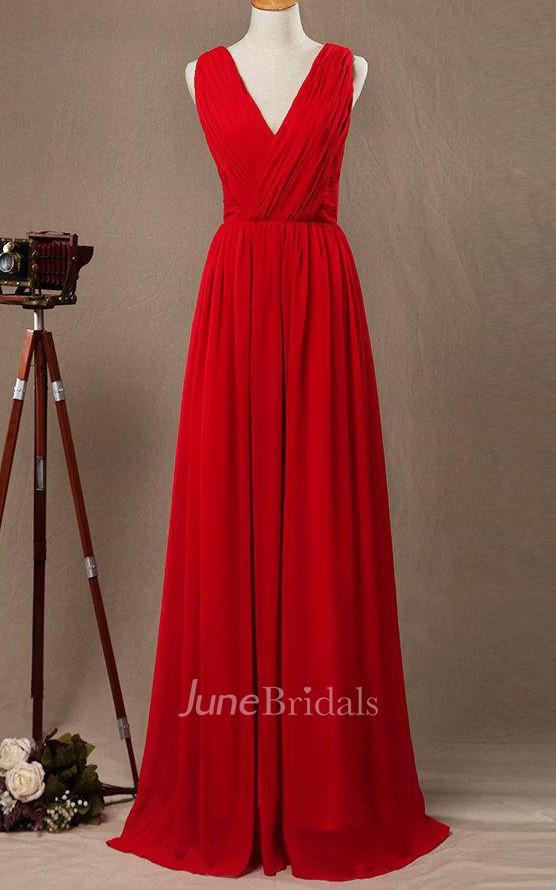 Floor Length Strapped V Neck Chiffon Amp Satin Dress With