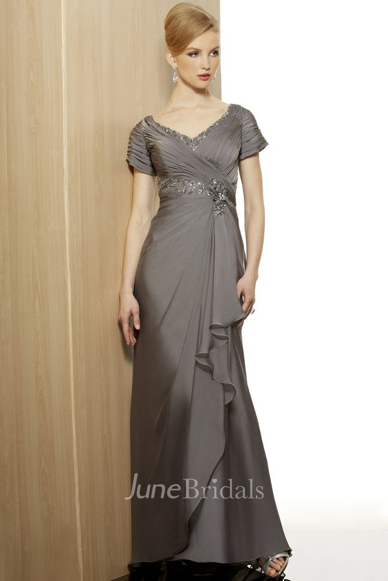 Cap Sleeve V Neck Beaded Jersey Formal Dress With Draping