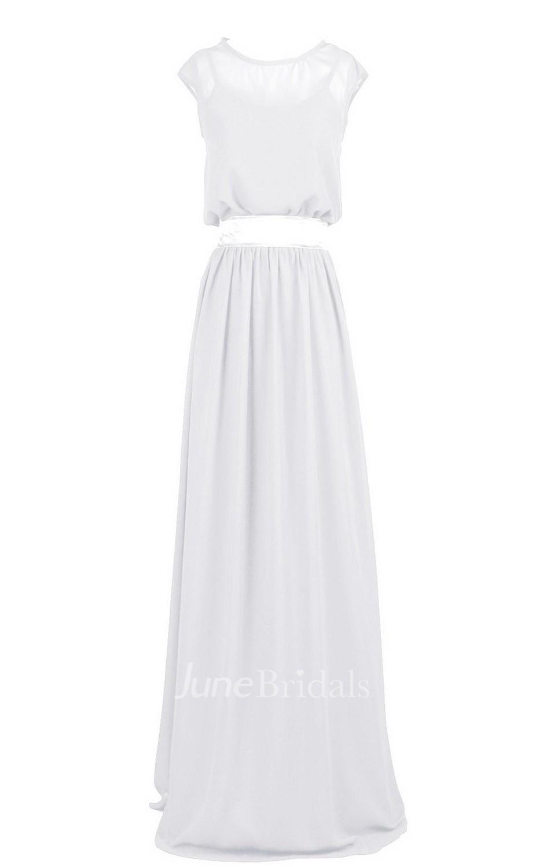 Sleeveless Bateau Neck Long Pleated Chiffon Dress