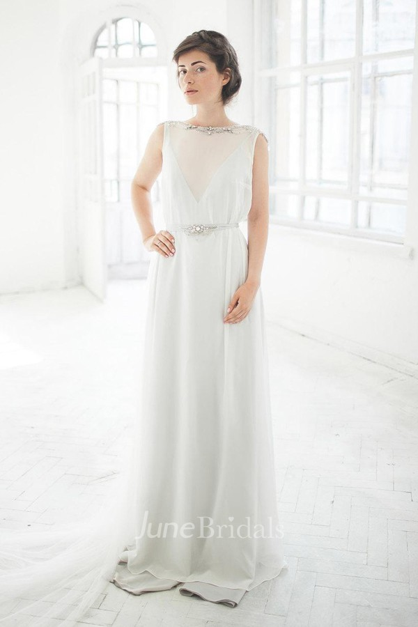 Casual Bateau Sleeveless Dress With Beading And Low V Back