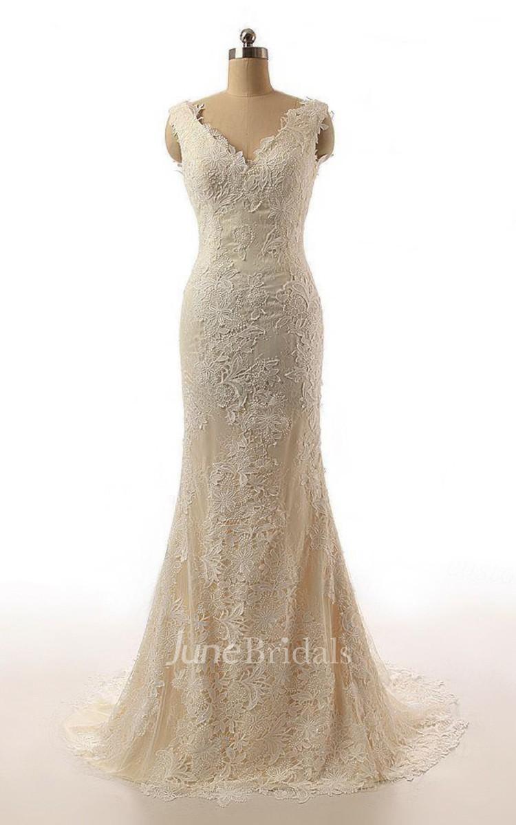 Mermaid cap sleeve sweep train lace weddig dress june for Cheap vintage style wedding dresses