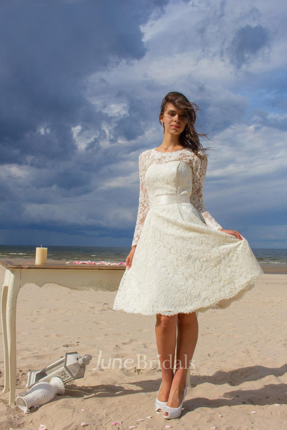 Jewel Neck Long Sleeve Lace Short Wedding Dress With Satin