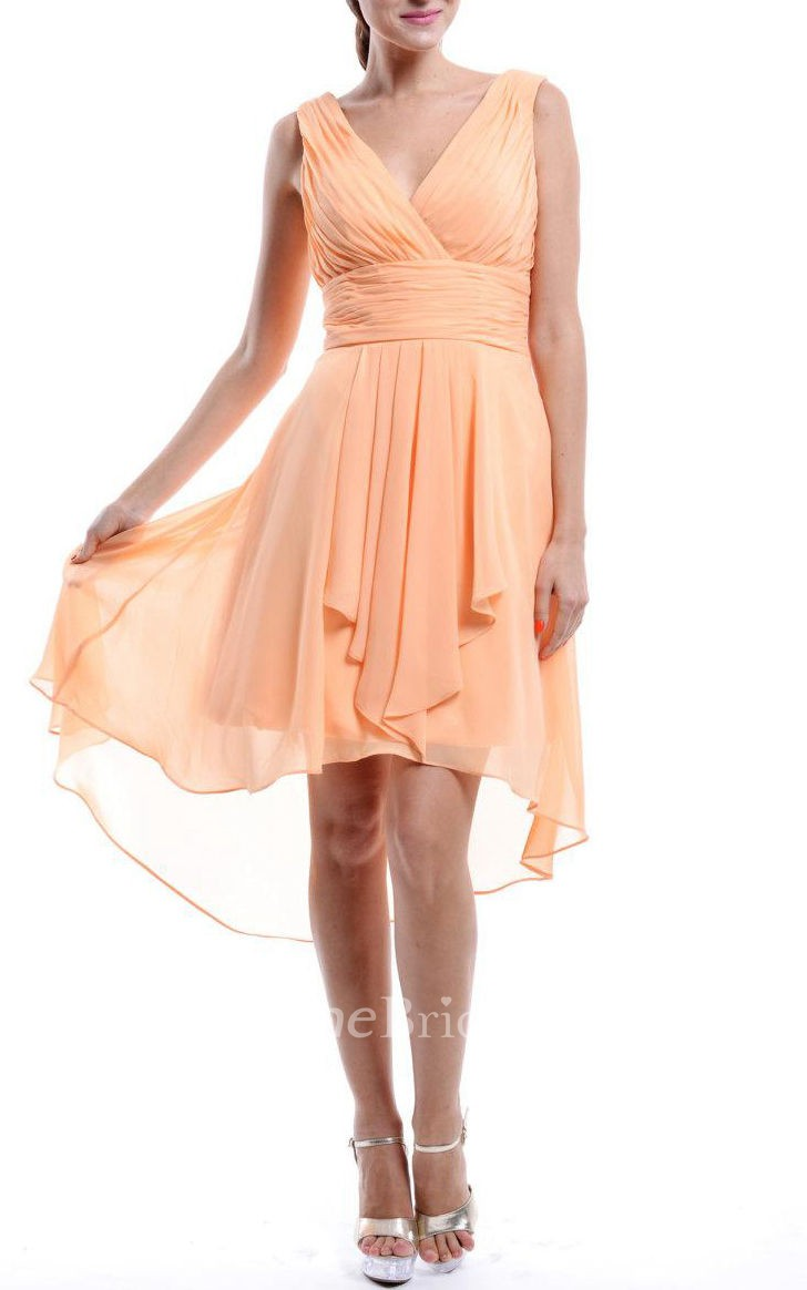 High Low Strapped V Neck Chiffon Dress June Bridals