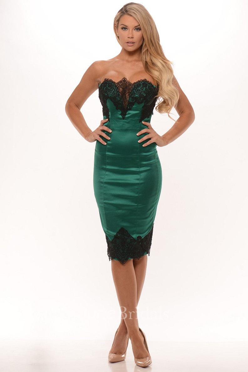 Pencil Sleeveless Strapless Knee Length Lace Satin Prom