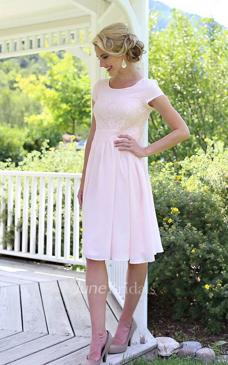 Short Sleeve Knee Length Dress With Lace Embellishment