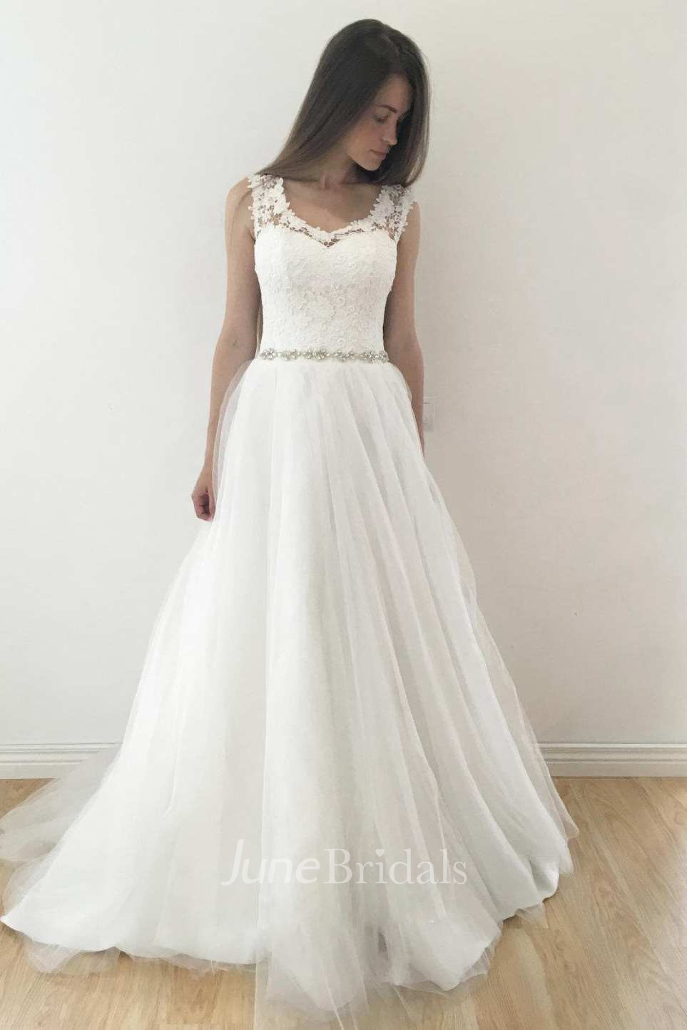 V neck sleeveless a line tulle pleated wedding dress with for Wedding dress for small bust