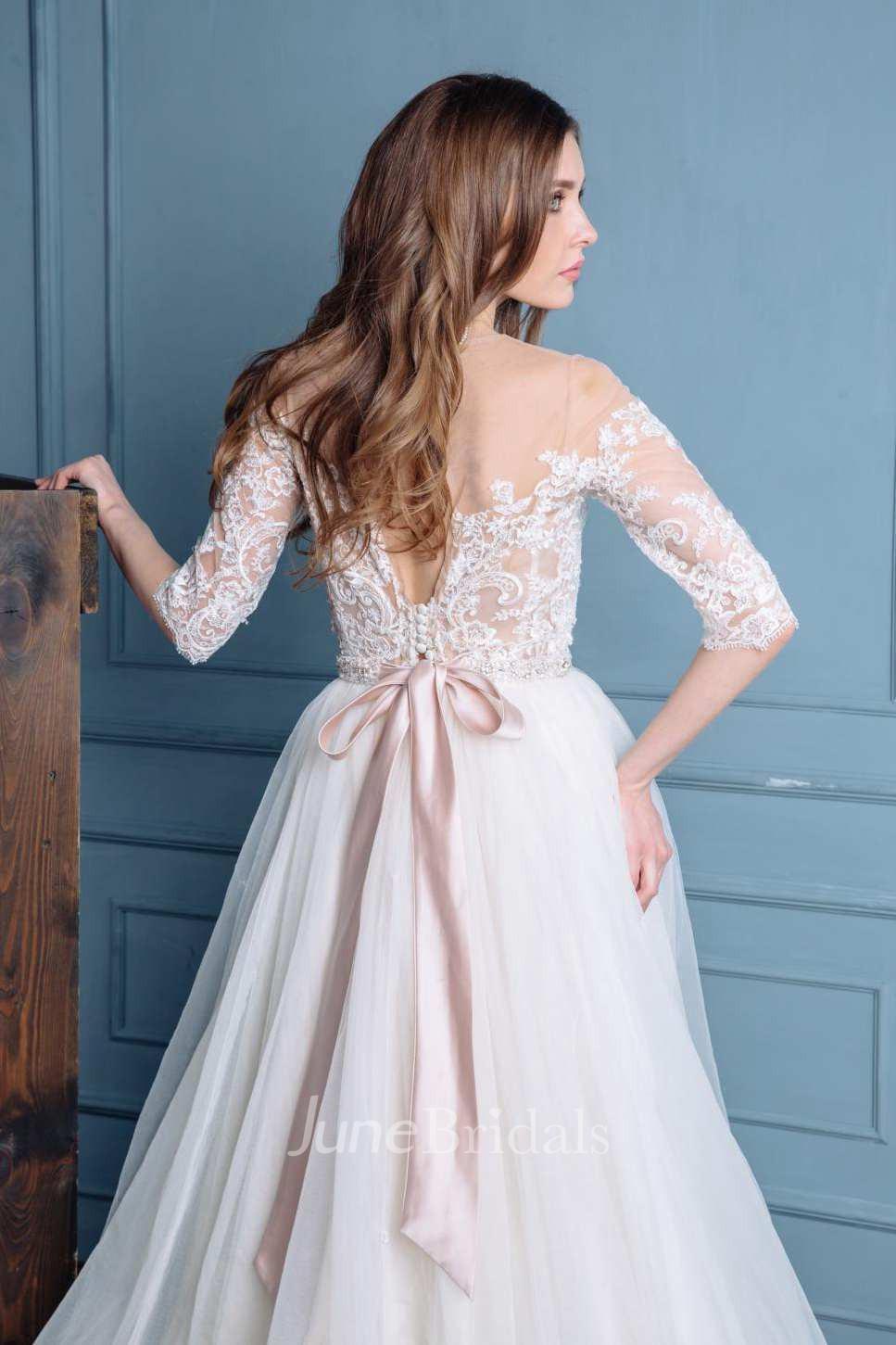 Illusion Bateau Long Sleeve Tulle A Line Wedding Dress