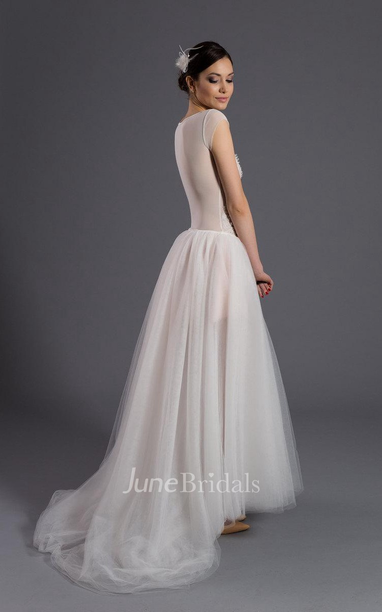 Scoop Neck Cap Sleeve A-Line Tulle Wedding Dress With ...