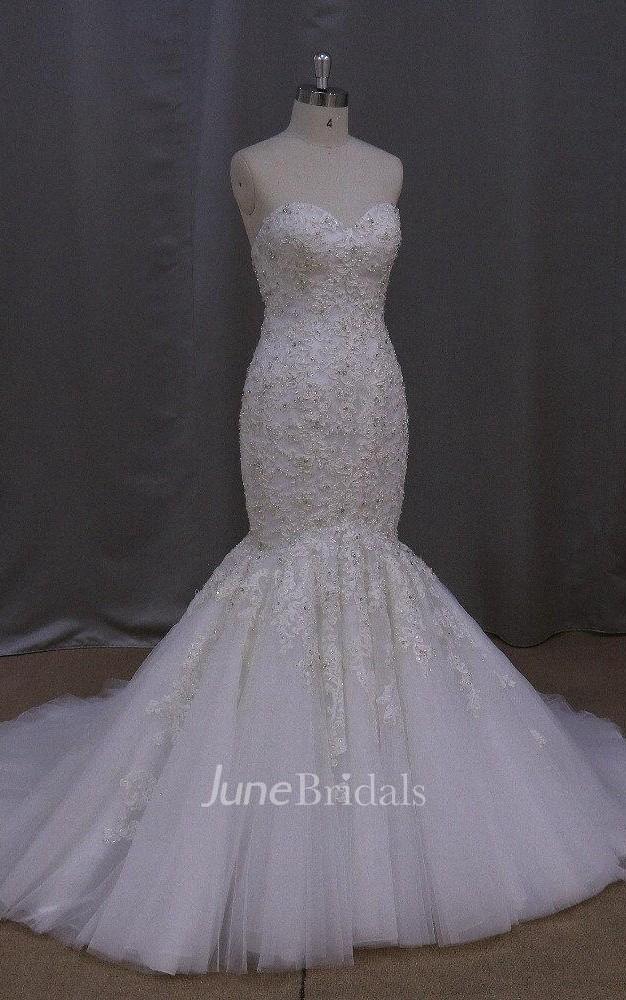 Sweetheart heavy beaded mermaid wedding dress with lace up for Heavy beaded wedding dresses