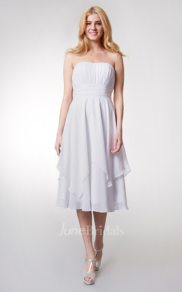 Strapless empire tea length layered bridesmaid dress for Junior wedding guest dresses for summer