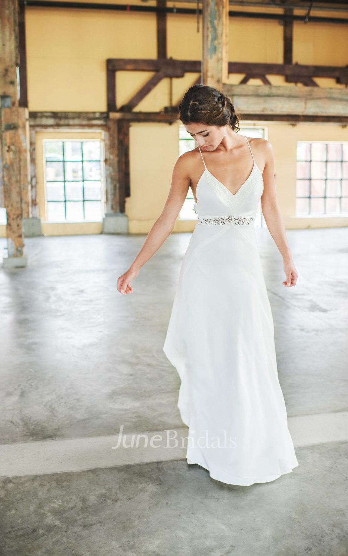 Boho Chiffon Spaghetti Strap Wedding Dress With Cut Out