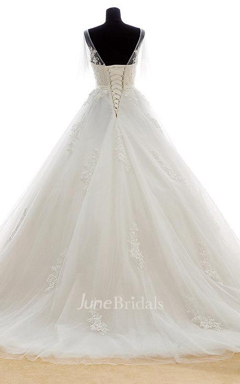 Romantic long a line tulle wedding dress with heavy