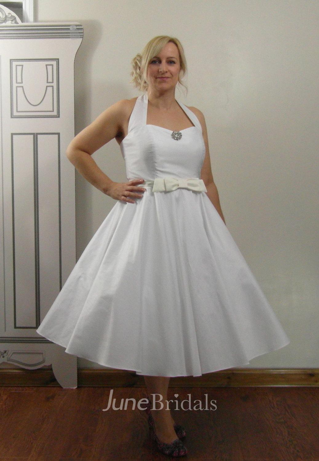 Rockabilly Tea Length Halter Neck Taffeta Wedding Dress