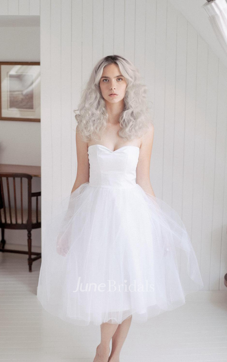 Sweetheart Tea Length Tulle Wedding Dress With Pleats