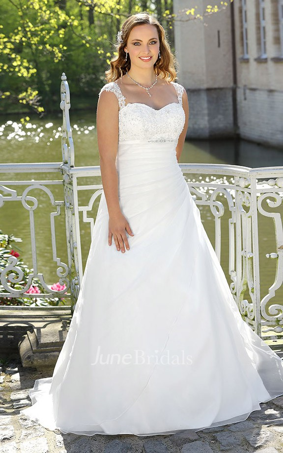 A line long queen anne sleeveless satin brush train lace for Super plus size wedding dresses