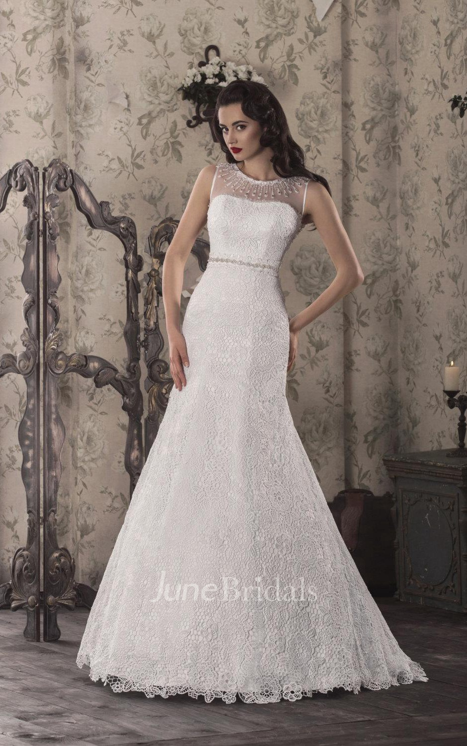 Trumpet Lace Weddig Dress With Illusion Lace Up Back