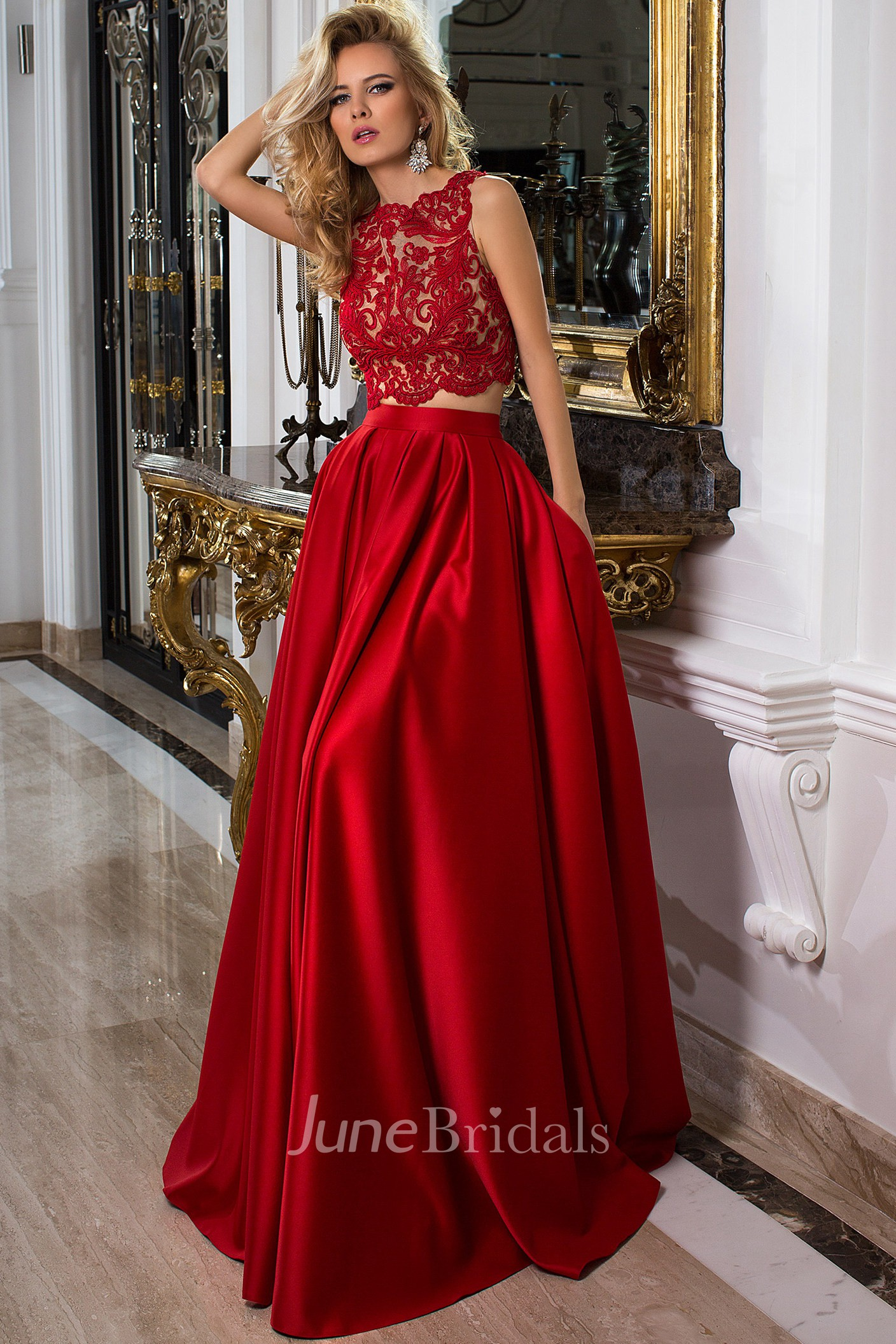 dfdd2ced7606 Sleeveless Jewel Neck Appliqued Satin Prom Dress With Illusion Back - June  Bridals
