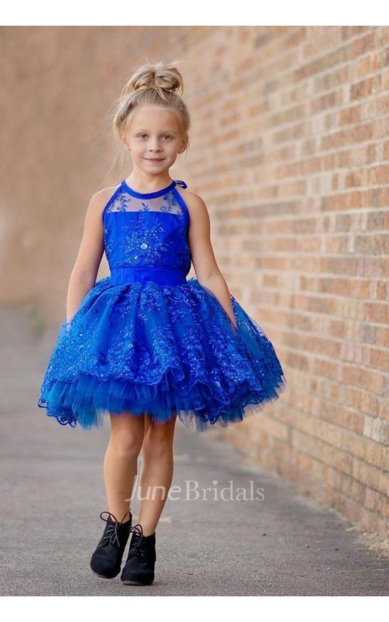 8fe51a744a28 Newest Royal Blue Lace Appliques 2018 Flower Girl Dress Halter Puffy Mini -  June Bridals