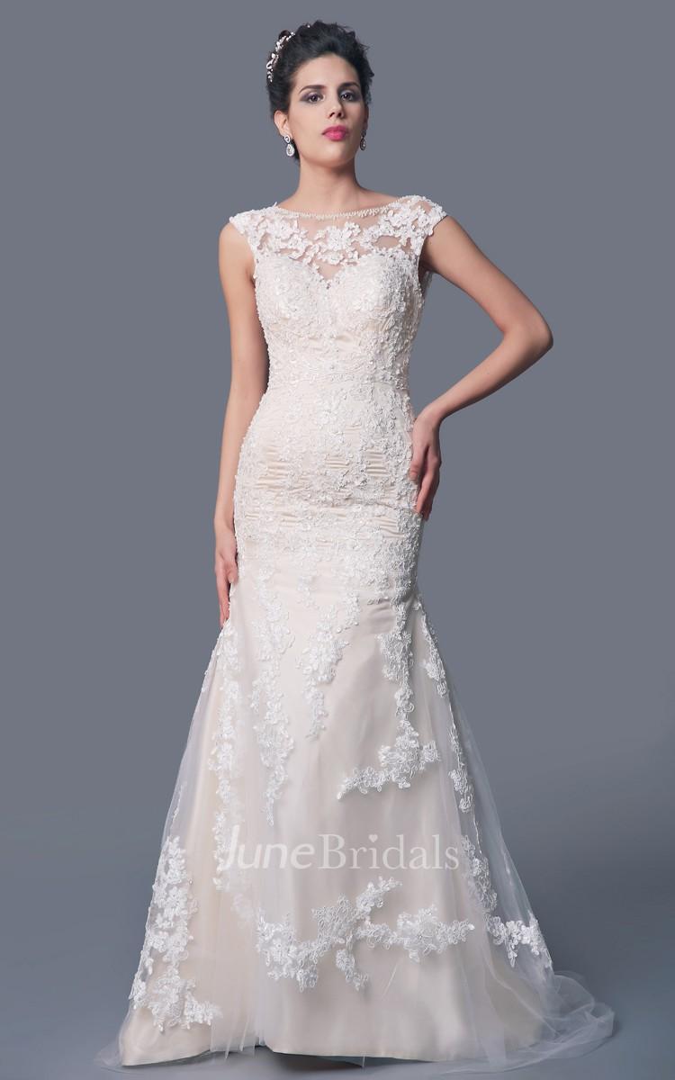 c8f78ff4dfd1 High Neck Mermaid Lace Wedding Dress with Deep V Back - June Bridals