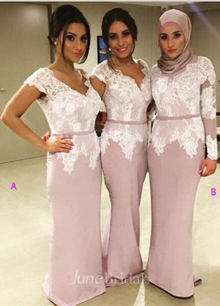 Modern V Neck Mermaid Lace Bridesmaid Dress 2018 Floor