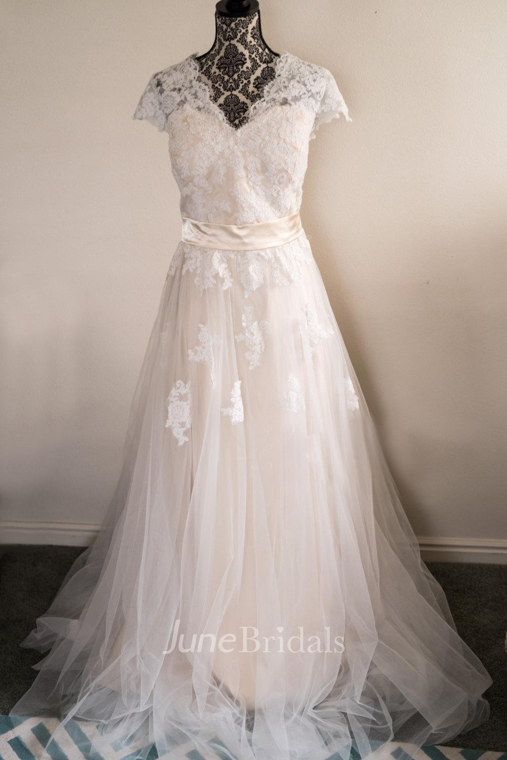 V Neck Cap Sleeve A Line Tulle Skirt Lace Bodice A Line Wedding Dress With Sash