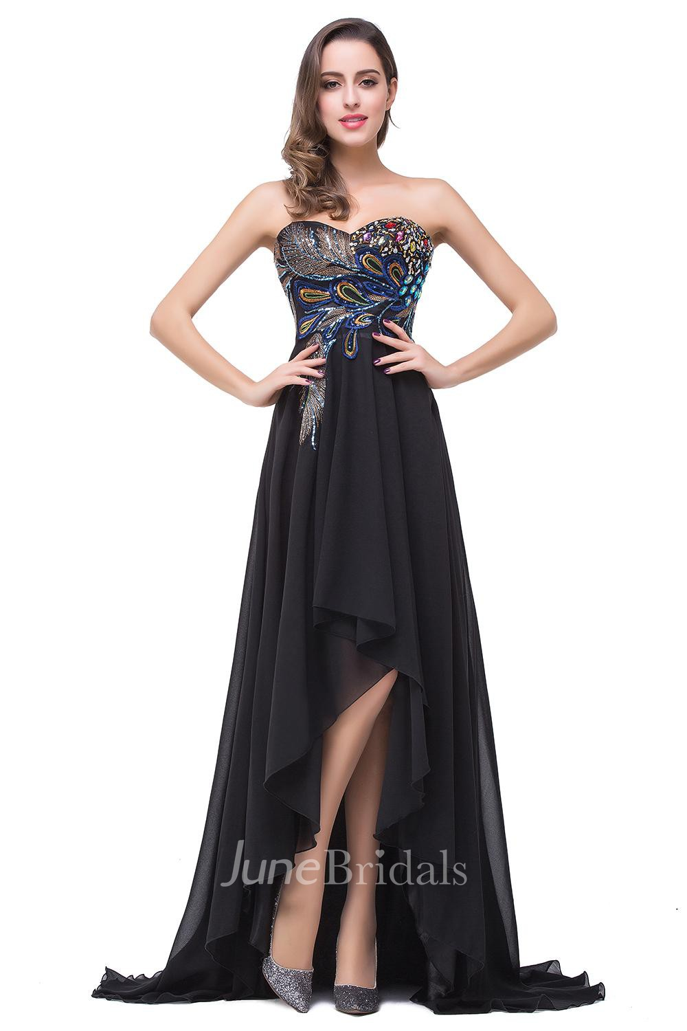 Newest Black Chiffon Peacock 2018 Prom Dress Hi Lo Sweep