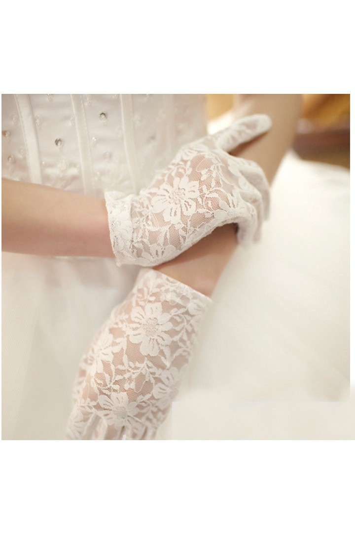Korean Tulle White Lace Short Gloves June Bridals