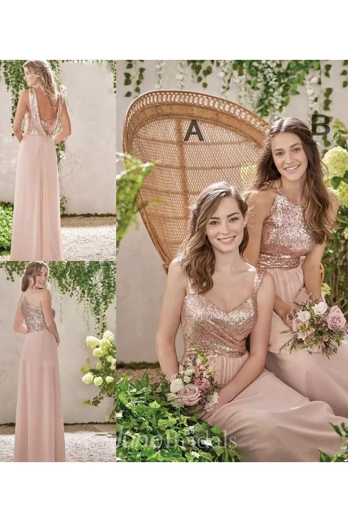 98b061be895a A-line Halter V-neck Sleeveless Floor-length Chiffon Sequins Bridesmaid  Dress with Ruching - June Bridals
