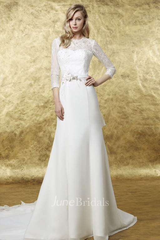 ccb264bd8ac99 A-Line 3-4 Sleeve High Neck Floral Chiffon Wedding Dress - June Bridals