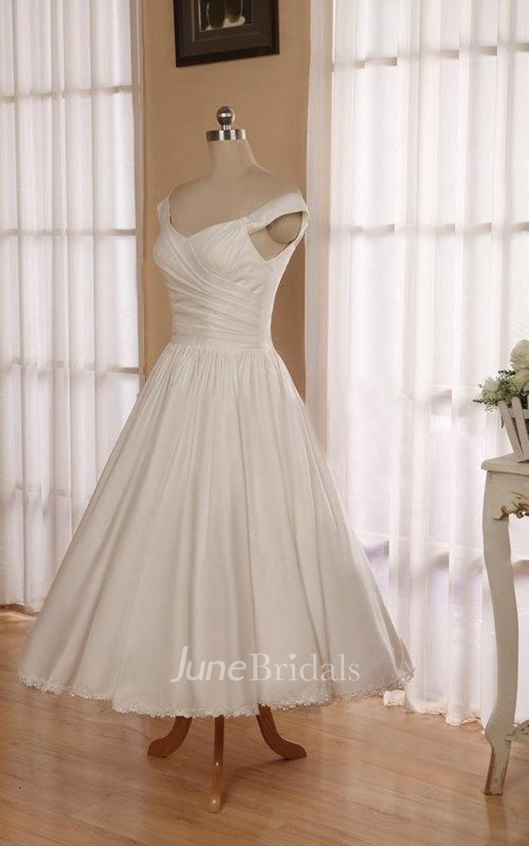 V neck sleeveless button back tea length satin wedding for V neck tea length wedding dress