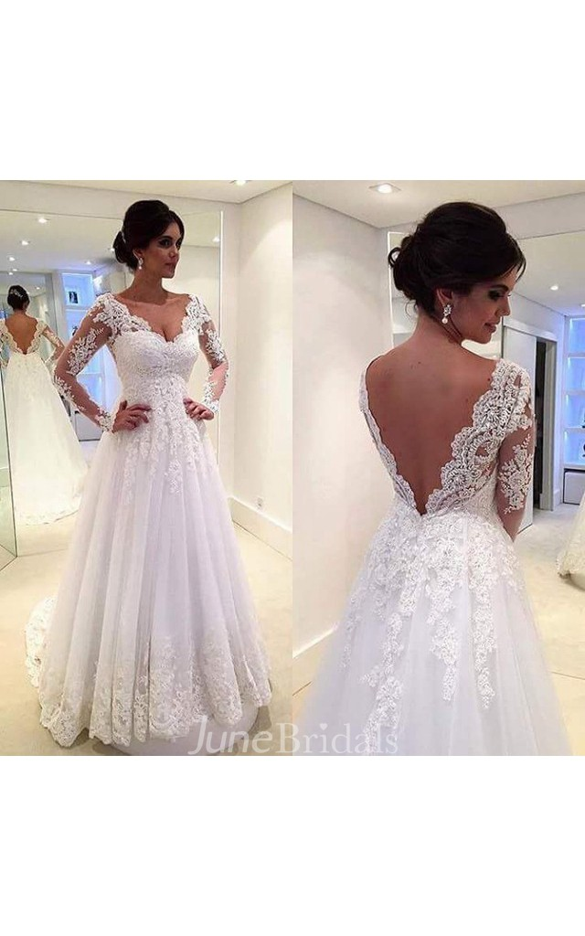 Fabulous long sleeve pleated long lace dress with low v for Wedding dresses for small breasts