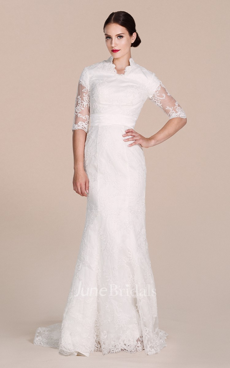halfsleeved sheath lace dress with illussion detail