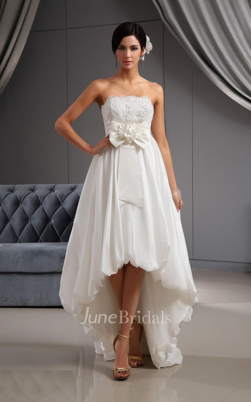 Sweetheart high low lace bodice wedding dress with 3d for High low sweetheart wedding dress