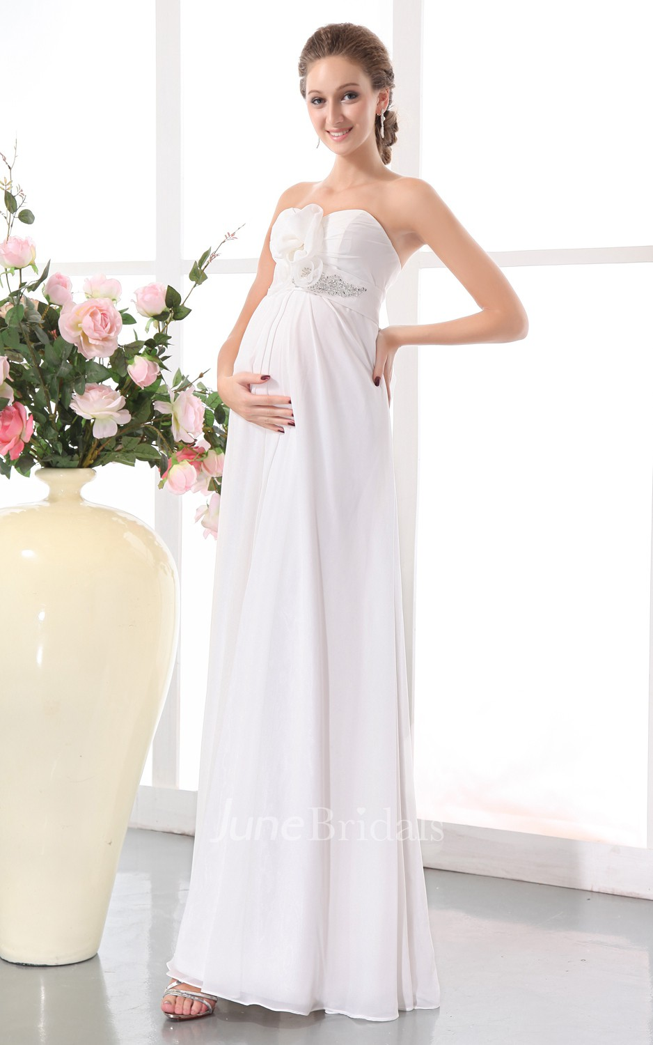 Sweetheart Sleeveless Floral Soft Flowing Fabric Empire