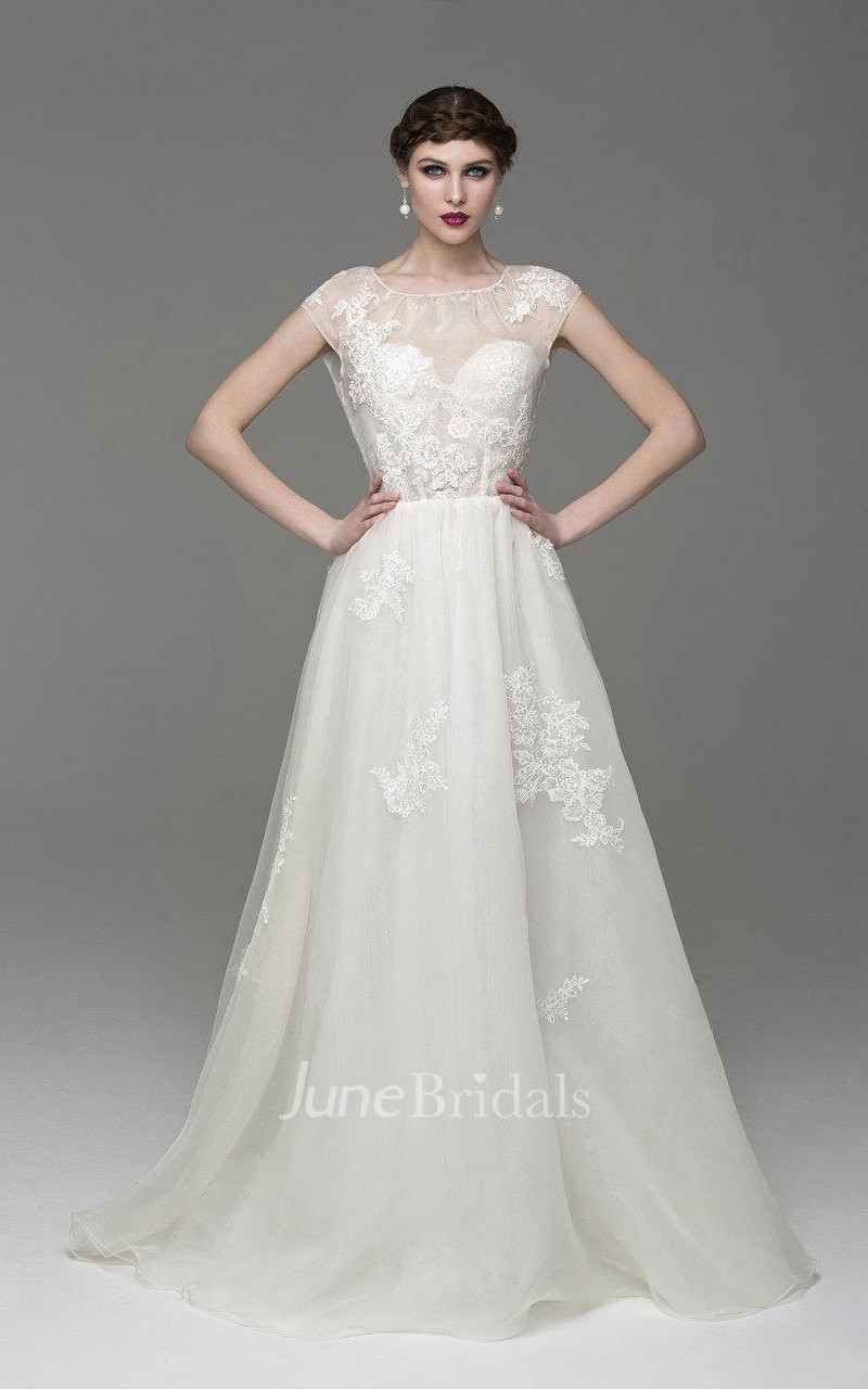 Scoop Neck Cap Sleeve A-Line Organza Dress With Appliques ...