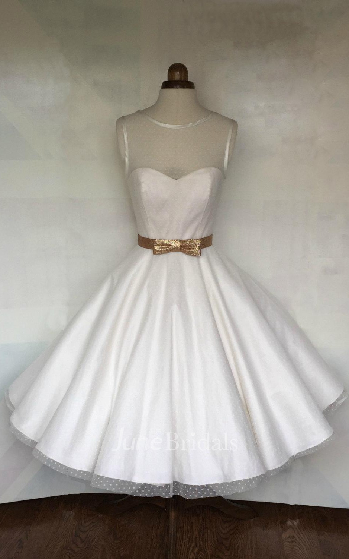 Cute dotted tea length a line wedding dress with illusion for A line illusion neckline wedding dress